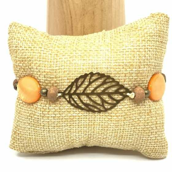 """Bracelet nacre orange """"Plume"""""""