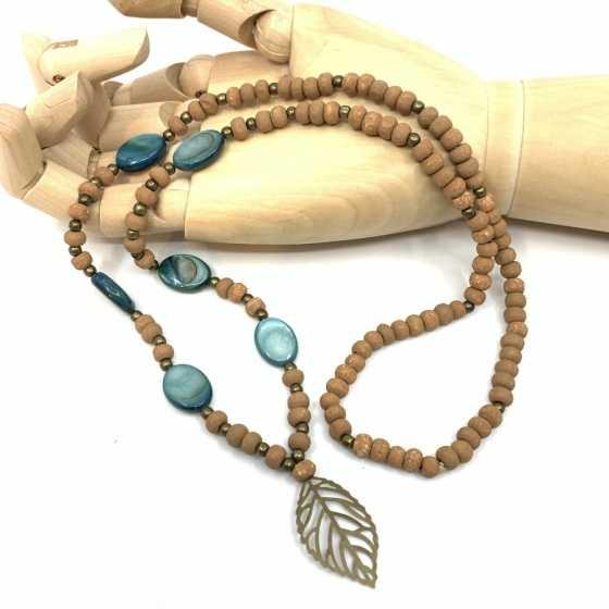 Halskette Perlmutt und holz Blau