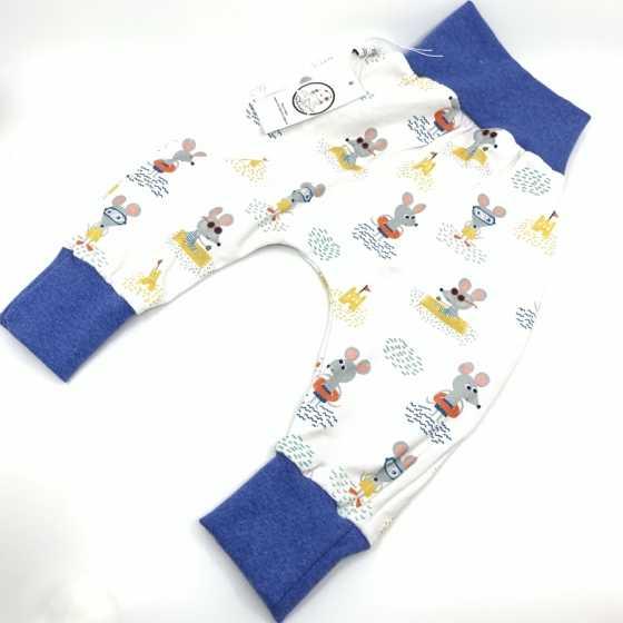 Baby-Saroual, Blaue Maus aus Bio-Jersey-Baumwolle, 6-12 Monate, handgemachte Nähkreation