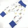 Sarouel bébé, Souris bleu en coton jersey Bio, 6-12 mois, couture création artisanale, cadeaux naissance