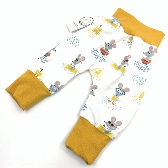 Baby-Saroual, Gelb Maus aus Bio-Jersey-Baumwolle, 0-3 Monate, handgemachte Nähkreation, Geburtsgeschenk