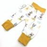 Sarouel bébé, Souris jaune en coton jersey Bio, 0-3 mois, couture création artisanale, cadeaux naissance
