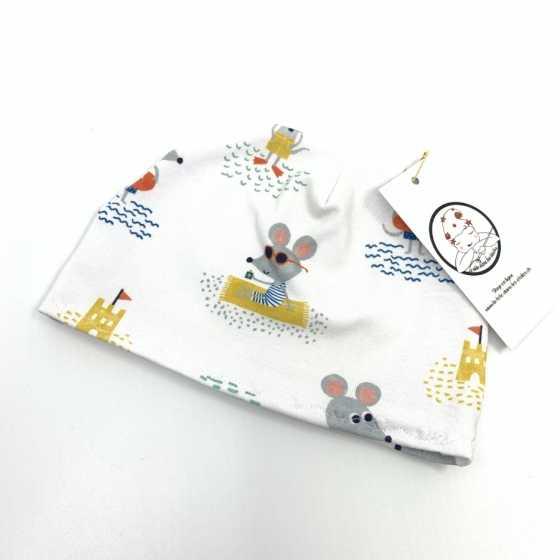Baby-Hut, Gelb Maus aus Bio-Jersey-Baumwolle, 2-6 Monate, handgemachte Nähkreation, Geburtsgeschenk