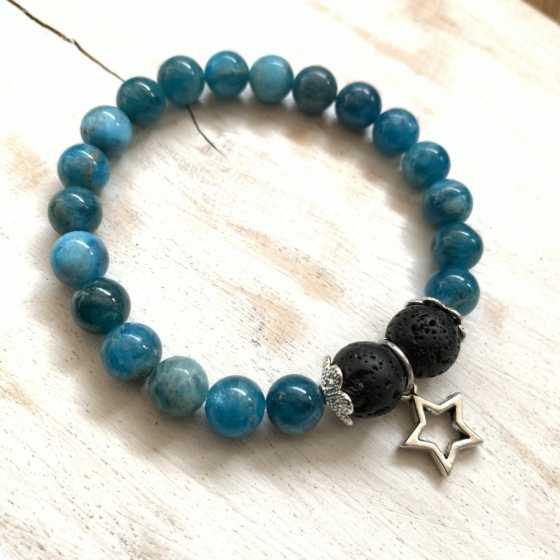 """Bracelet Apatite """"Aroma"""", aromatherapie, création artisanale, qualité suisse, pierre naturelle"""