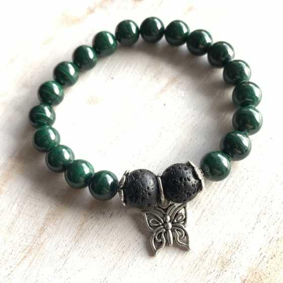 """Bracelet Malachite """"Aroma"""", aromatherapie, création artisanale, qualité suisse, pierre naturelle"""