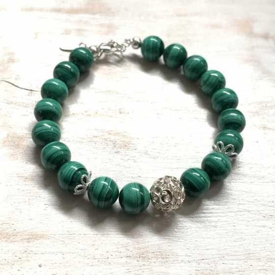 Bracelet Malachite et Argent 925, création artisanale, qualité suisse, pierre naturelle