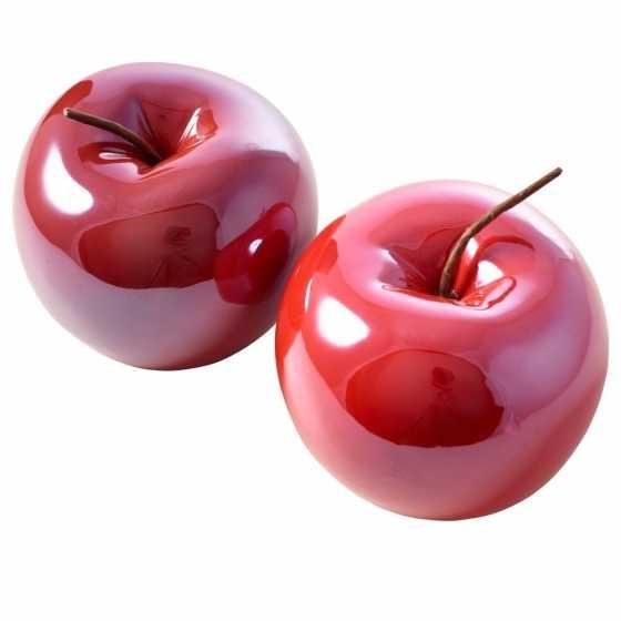 Petite pomme en céramique pour décoration d'automne.