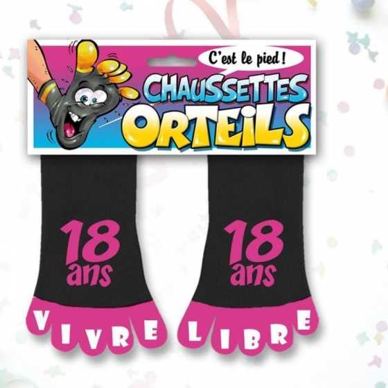 """Chaussettes orteils """"18 ans"""", cadeau anniversaire, Fribourg, boutique suisse"""