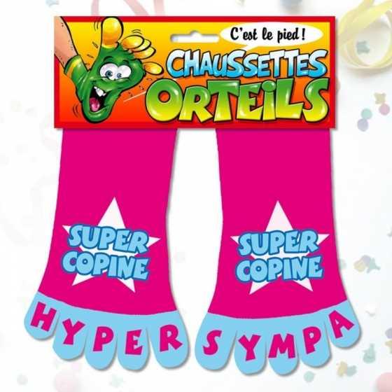 """Chaussettes orteils """"Super Copine"""", cadeau anniversaire, Fribourg, boutique suisse"""